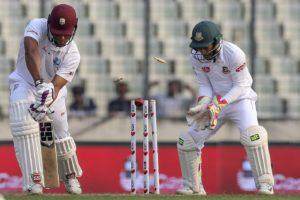 Kieran Powell loses his off stump, Bangladesh v West Indies, 2nd Test, Mirpur, 2018. Image Courtesy: ESPNcricinfo