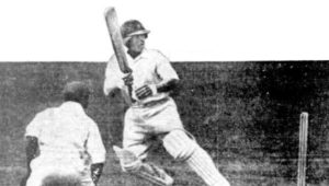 "Patsy Hendren, in his ""helmet"", flicks one from Learie Constantine. Image Courtesy: The Mail"
