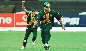 Herschelle Gibbs retrieves the ball having dropped Steve Waugh in their World Cup match at Headingley in 1999. Photograph: Tom Jenkins for the Guardian