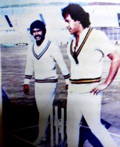 Gazi Ashraf Hossain Lipu and Imran Khan walk out for the toss during the match between Bangladesh and Omar Qureshi XI. Image Courtesy: Crickter Nirman