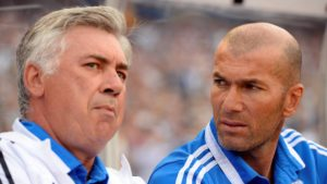 Carlo Ancelotti and Zinedine Zidane in the dugout of Real Madrid, 2014. Image Courtesy: AS