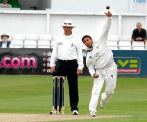 Shakib Al Hasan in action with the ball. Image Courtesy: Worcestershire News