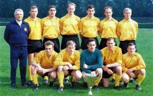 BORUSSIA DORTMUND 1965-66 CUP WINNERS' CUP CHAMPION Standing: Multhaup (Coach), Schmidt, Assauer, Paul, Emmerich, Sturm and Held. Bended: Libuda, Redder, Tilkowski, Cyliax and Kurrat. Image Courtesy: Pes Miti del Calico