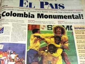 The headline of El Pais after the Colombian victory. Image Courtesy: The Hard Tackle