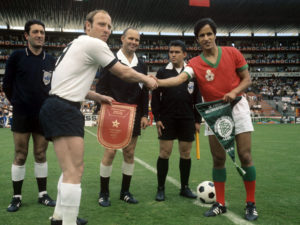The Moroccan and German captains shake hands with each other before the start of the match. Image Courtesy: Twitter
