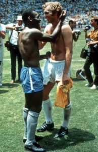 Pele and Bobby Moore after the match. Image Courtesy: Mirror UK