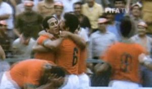 Jarir is hugged by his teammates after scoring the goal. Image Courtesy: FIFA