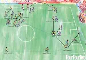 An illustration of the goal by Carlos Alberto by FourFourTwo