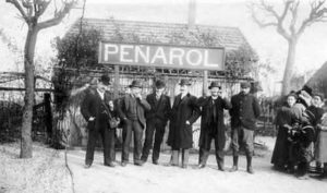 Managers and technical staff of the Central Uruguay Railway (CUR) at Peñarol station. Railway workers spread the practice of football in Uruguay. Image Courtesy: Wikipedia