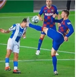 Clement Lenglet ugly tackle vs Espanyol against which no action was taken. Image Courtesy: Twitter