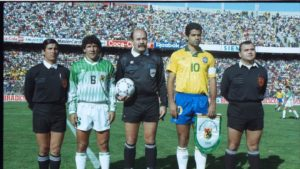 The captains and match officials before the start of match. Image Courtesy: FIFA