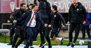 North Macedonia manager Igor Angelovski celebrates after the Euro 2020 playoff semi-final against Kosovo in Skopje. Photograph: Georgi Licovski/EPA