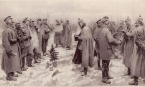"""Soldiers from both sides (the British and the Germans) exchange cheerful conversation (An artist's impression from The Illustrated London News of 9 January 1915: """"British and German Soldiers Arm-in-Arm Exchanging Headgear: A Christmas Truce between Opposing Trenches"""").Image Courtesy: Wikipedia"""
