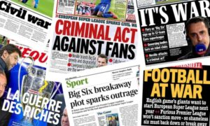 Newspapers reacted with outrage after 12 leading clubs announced the formation of the European Super League. Image Courtesy: The Guardian